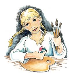 Hattie holding paintbrushes.