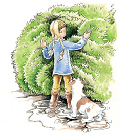 Hattie clipping a hedge.